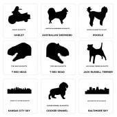 Set Of 9 simple editable icons such as baltimore sky cocker spaniel kansas city sky