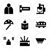 Set Of 9 simple editable icons such as Mortarboard Backpack Student