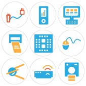Set Of 9 simple editable icons such as Polaroid Modem Satellite