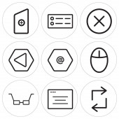 Set Of 9 simple editable icons such as Retweet Browser Glasses Mouse Arroba Left arrow Close Menu New file can be used for mobile web