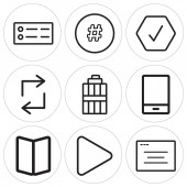 Set Of 9 simple editable icons such as Browser Play button Map Phone Garbage Retweet Checked Hashtag Menu can be used for mobile web