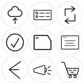 Set Of 9 simple editable icons such as Shop Volume Left arrow Browser Folder Check Retweet Menu Cloud can be used for mobile web