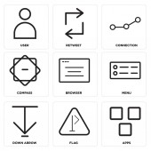 Set Of 9 simple editable icons such as Apps Flag Down arrow Menu Browser Compass Connection Retweet User can be used for mobile web