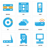 Set Of 9 simple editable icons such as Laptop Memory card Wifi