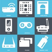 Set Of 9 simple editable icons such as Memory card Folder Wifi