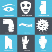 Set Of 9 simple editable icons such as Thyroid Men Hand Men Shoulder
