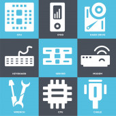 Set Of 9 simple editable icons such as Cable Cpu Wrench