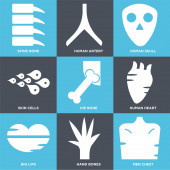 Set Of 9 simple editable icons such as Men Chest Hand Bones Big Lips