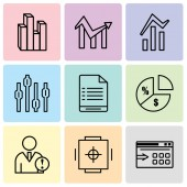 Set Of 9 simple editable icons such as Data export with an arrow Safe box Data analytics Pie chart information on money User warning Box plot chart Bars and data analytics Chart Stream graphic