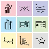 Set Of 9 simple editable icons such as Cart graphic Bars Sun Flare Data export with an arrow Data import interface Stream graphic Chart Data connection Bars and data analytics