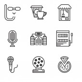 Set Of 9 simple editable icons such as Pizza Magic ball Microphone Gaming Zoo Microphone Machine Coffee Diving mask