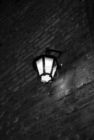 Old lighting in the street black white