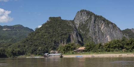 River with mountains in background, River Mekong, Pak Ou District, Luang Prabang, Laos