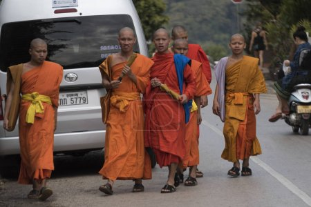 Group of monks walking on road, Luang Prabang, Laos