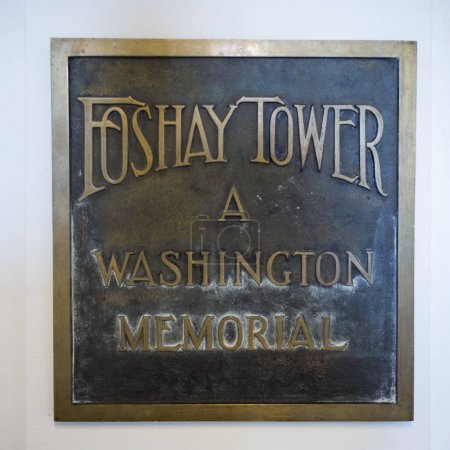 Close-up of memorial plaque at Foshay Tower, Minneapolis, Hennepin County, Minnesota, USA