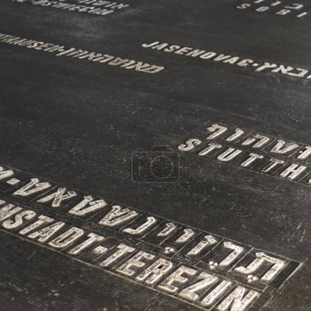 Names of martyrs on floor in memorial, Hall Of Remembrance, Yad Vashem, Jerusalem, Israel
