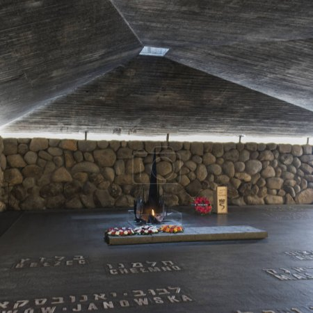 Names of martyrs on floor in memorial and Eternal Flame, Hall Of Remembrance, Yad Vashem, Jerusalem, Israel