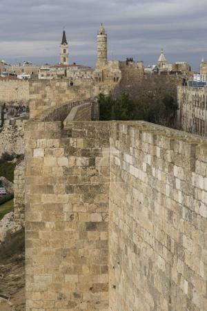 Ramparts walk with Tower of David in background, Old city, Jerusalem, Israel
