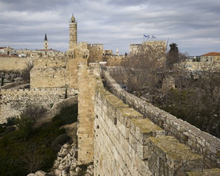 View of Ramparts Walk with Tower of David in the background, Jerusalem, Israel