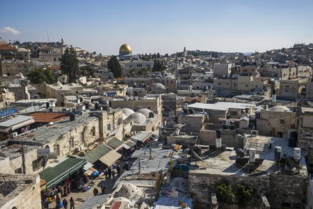 View of old city from Ramparts Walk with Dome of The Rock and Tower of David in the background, Jerusalem, Israel