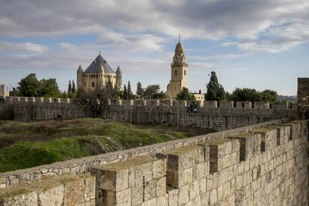Photo for View of Ramparts Walk with Cathedral of Saint James in the background, Jerusalem, Israel - Royalty Free Image