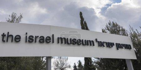 Close-up of signboard, Israel Museum, Jerusalem, Israel