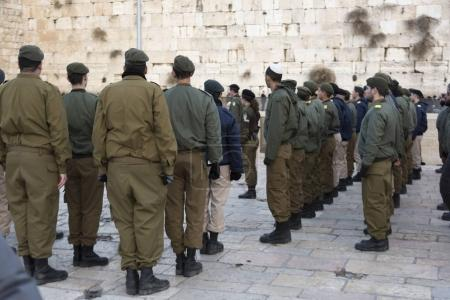 Army soldiers at the Western Wall, Old City, Jerusalem, Israel