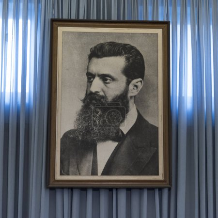 Theodor Herzl considered as father of the State of Israel, Independence Hall, Tel Aviv, Israel