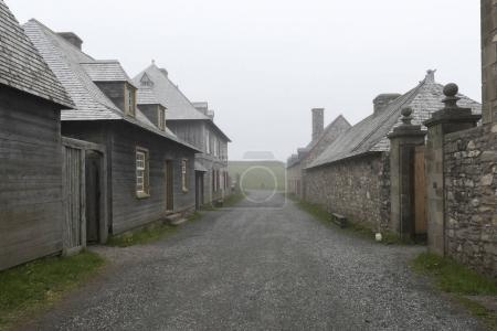 Houses by main street, Fortress of Louisbourg, Louisbourg, Cape Breton Island, Nova Scotia, Canada