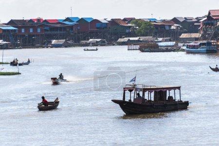 Boats in Tonle Sap lake, Kampong Phluk, Siem Reap, Cambodia