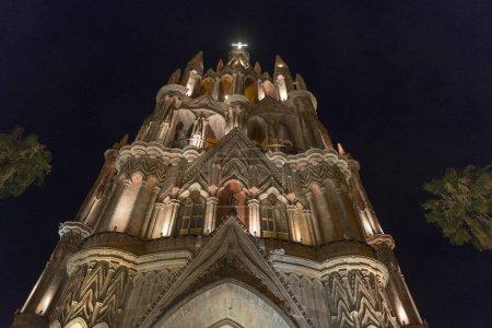 Low angle view of Parish church at night, Zona Centro, San Miguel de Allende, Guanajuato, Mexico