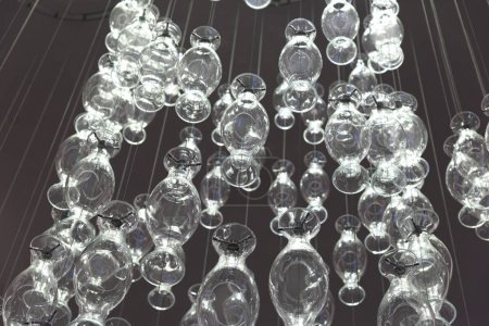 Low angle view of decorative glass lighting equipment, Edinburgh, Scotland