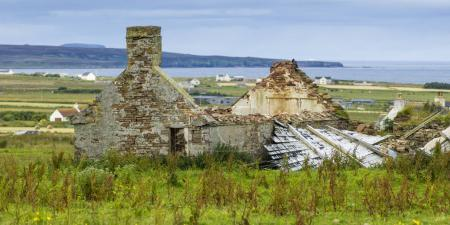 Damaged house at Duncansby Head, John O' Groats, Caithness, Scottish Highlands, Scotland
