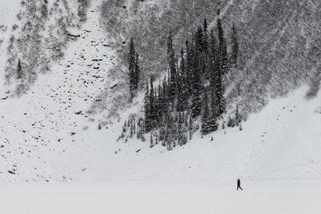 Person walking in snow, Lake Louise, Banff National Park, Alberta, Canada