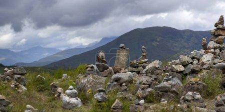 Stack of rocks on landscape, Scottish Highlands, Scotland