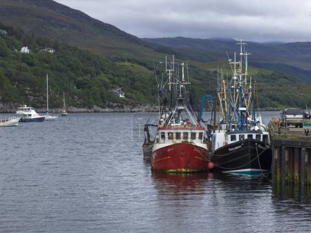 Fishing boats at harbor, Ullapool, Scottish Highlands, Scotland
