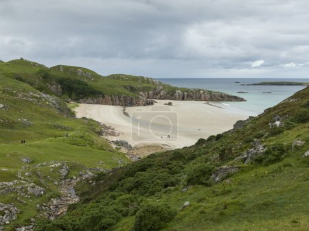 Scenic view of coastal beach against cloudy sky, Scottish Highlands, Scotland