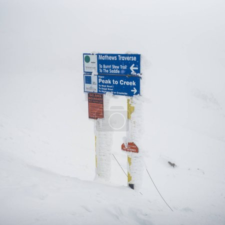 Sign board in snowy valley, Whistler, British Columbia, Canada