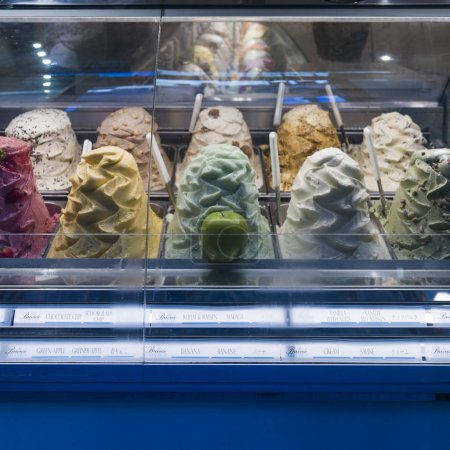 Multi colored ice cream in display cabinet, Siena, Tuscany, Italy