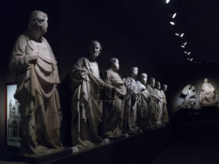 Marble statues at Museo dell'Opera del Duomo, Siena, Tuscany, Italy
