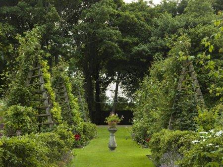 View of garden at Dunrobin Castle, Golspie, Sutherland, Scottish Highlands, Scotland