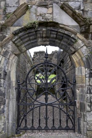 Medieval building metal gate, Stirling, Scotland...