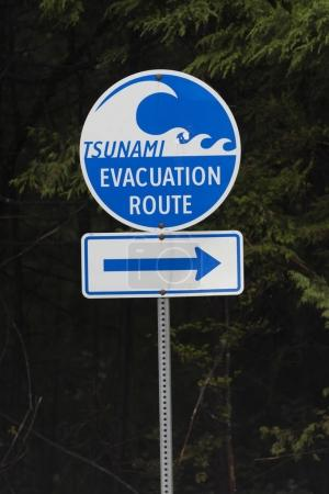 Tsunami evacuation route sign, Pacific Rim National Park Reserve, British Columbia, Canada
