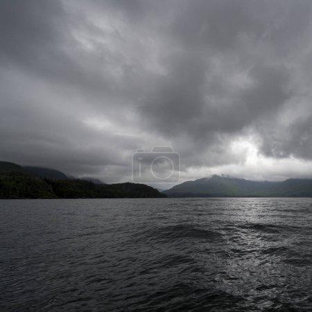 Dark clouds over Shoreline, Skeena-Queen Charlotte Regional District, Hippa Island, Haida Gwaii, Graham Island, British Columbia, Canada