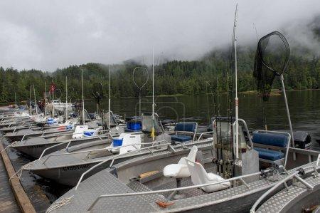 Row of Boats moored at a harbor, Westcoast Resort, Skeena-Queen Charlotte Regional District, Haida Gwaii, Graham Island, British Columbia, Canada