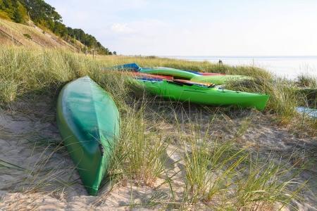 kayaks in dune grass