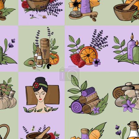 Illustration pour Fond sans couture sur un thème spa, détente, massage, ayurveda dans des tons vert lilas doux. Cosmétiques lavande, citrique et bio. Prendre soin du corps, des herbes et du massage - image libre de droit