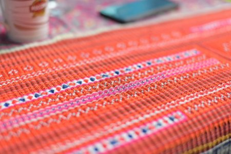 Photo for Colorful carpet on table close up - Royalty Free Image