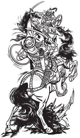 Combat des guerriers mongols. Cavaliers soldats assis sur des chevaux de poney et se battant avec des épées. Bataille entre clans Mongols et tribus. Le temps de Genghis Khan. Illustration vectorielle noir et blanc