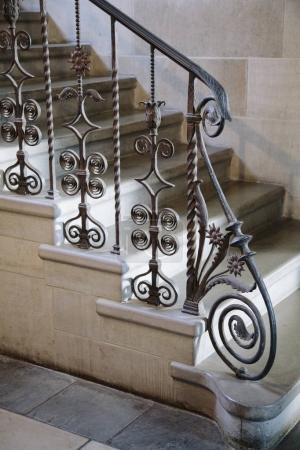 Ornate wrought iron railing detail
